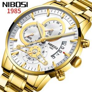 Relogio Masculino NIBOSI Gold Watch Men Top Brand Luxury Male Clock Military Sport Quartz Auto Date Business Wrist Watch Men