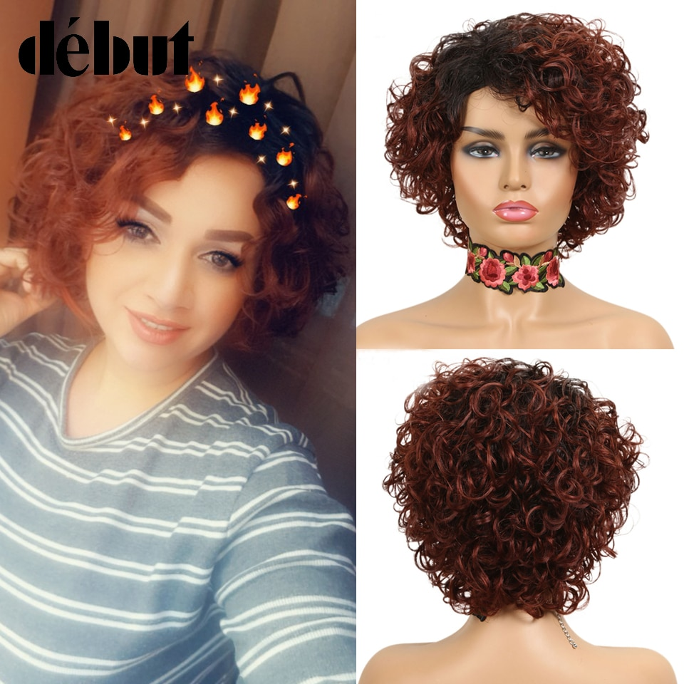 Короткие вьющиеся парики с эффектом омбре, парики из человеческих волос, недорогие вьющиеся парики в стиле фальшивой стрижки, черные полные...