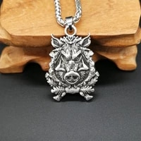 nordic wild boar pendant necklace mens necklace new fashion metal retro viking jewelry accessories amulet gift
