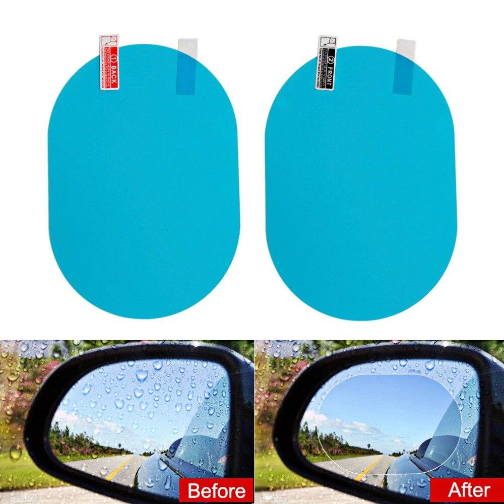 2 unids/par coche protector impermeable película Anti niebla de agua película Anti niebla revestimiento impermeable espejo retrovisor ventana
