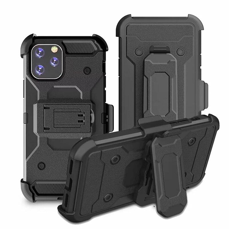Cinturón a prueba de golpes Clip funda híbrida para Iphone 11 Pro XR XS MAX X 8 7 6s Galaxy Nota 10 S10 S10e Plus soporte de plástico duro + TPU