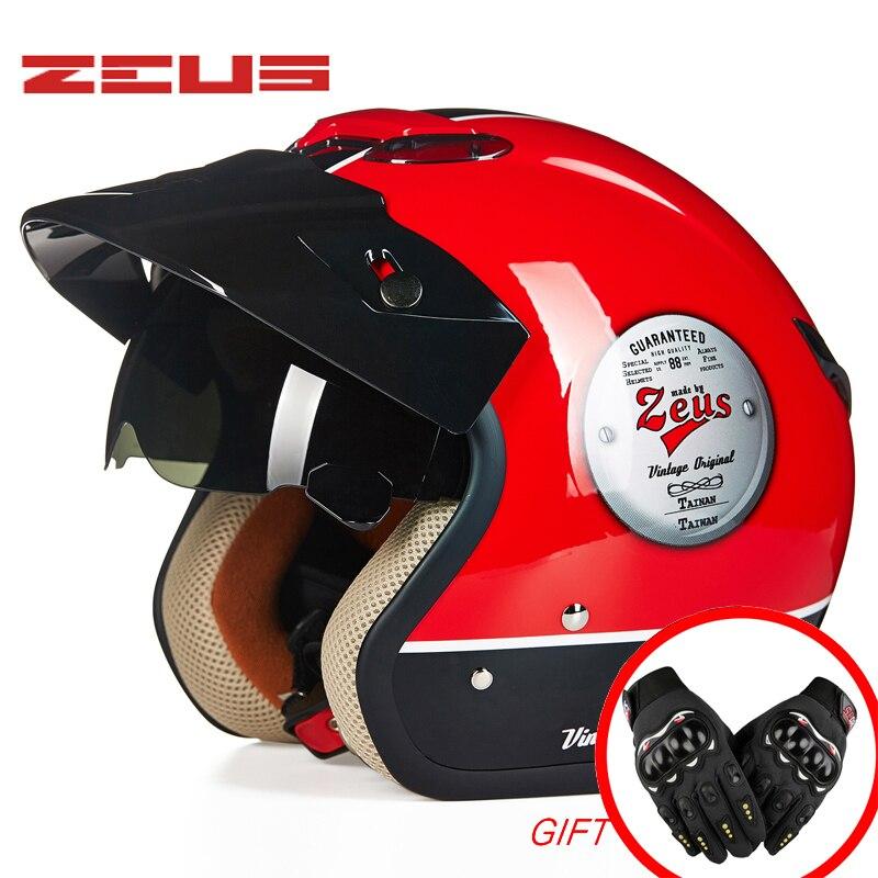 خوذة دراجة نارية جديدة كلاسيكية طراز 3/4 خوذة ريترو موتو كاسكو سكوتر خوذة مفتوحة الوجه DOT ZEUS 381C