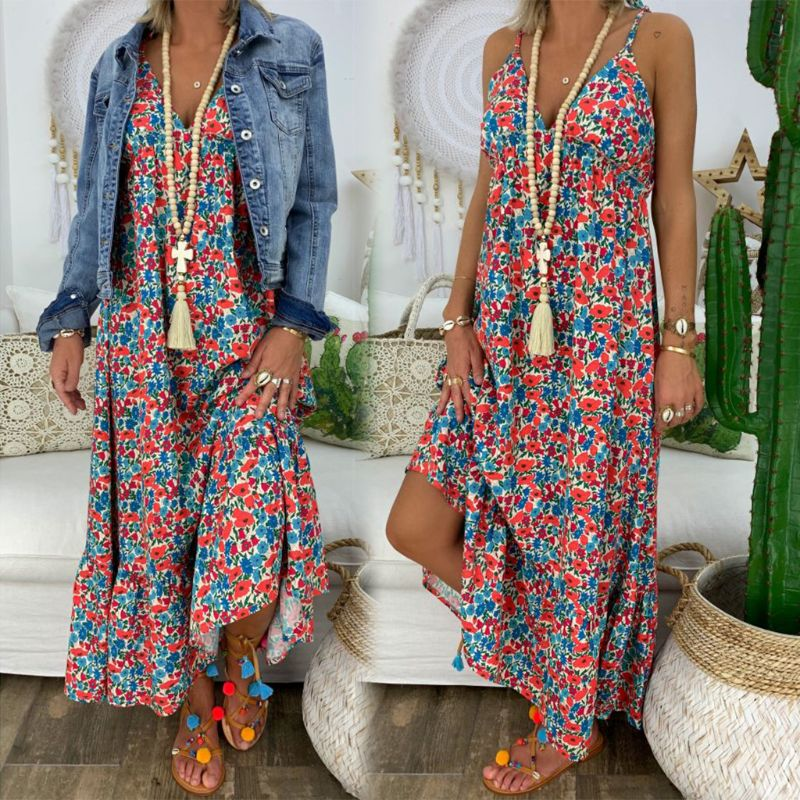Womens Boho Floral Maxi Dress Party Strappy Summer Beach  Holiday Spaghetti Strap Sundress Plus Size S M L XL 2XL 3XL 4XL 5XL