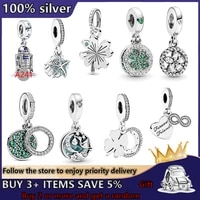high quality s925 silver four leaf clover shell pendant charm beads suitable for original pandora bracelet diy ladies jewelry