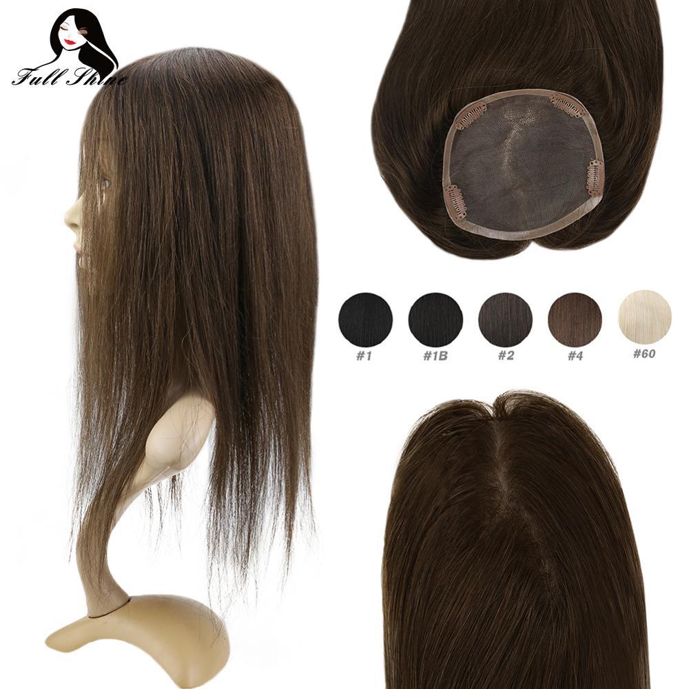 Voller Glanz Haar Topper Silk Basis 13*13cm Unsichtbare Haar Stück Mit Clips 100% Maschine Made Remy Krone haar Extensions Mono basis