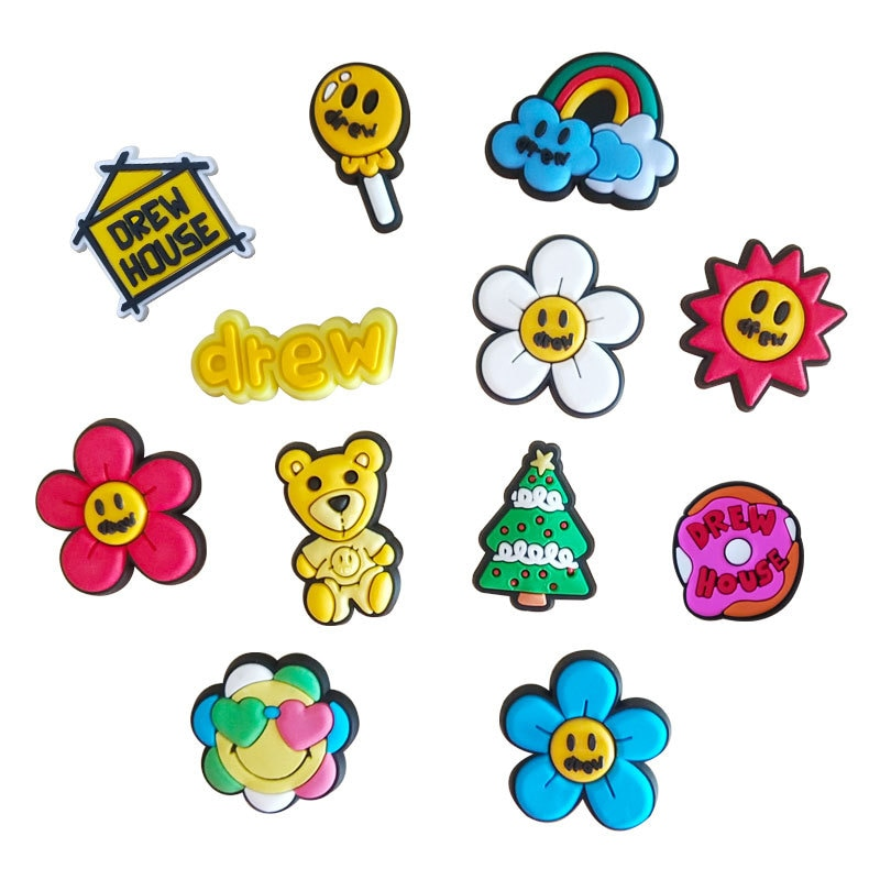 1pcs special resin shoe charms accessories party home decoretion kids children gift cake ice cream and pastry christmas bells 12pcs Resin Shoe Charms Cute Smiley Rainbow Flower Shoe Accessories Shoe Buckle Decorations Kids Hole Shoes Accessories