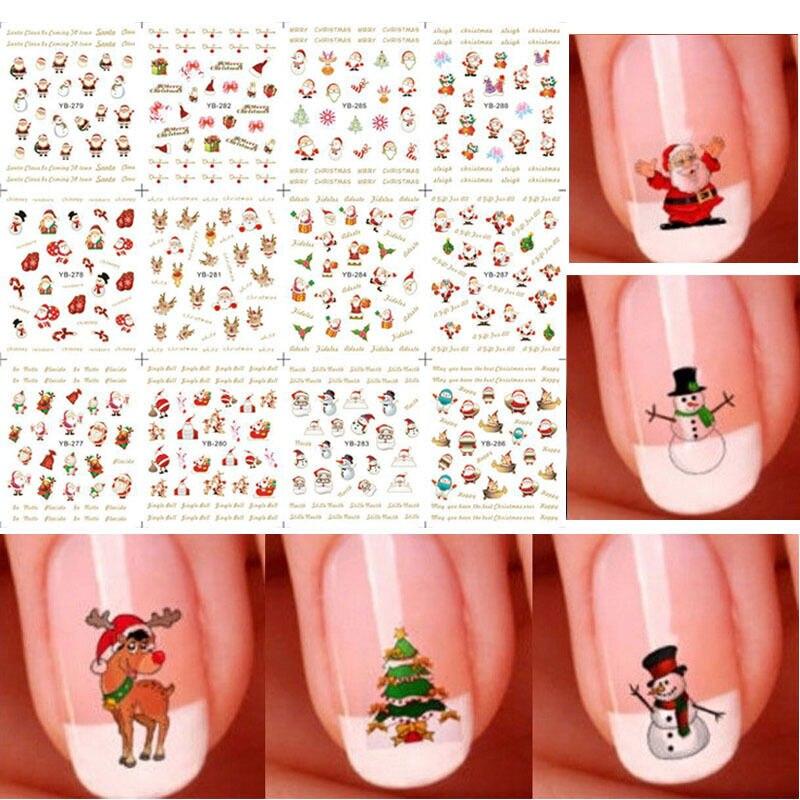 12 Uds./1 hoja 3D pegatinas de uñas de Navidad Santa nieve árboles copos de nieve pegatinas de Arte de uñas DIY adhesivo consejos de manicura