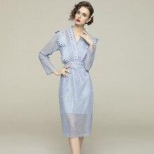 Frauen Frühling Elegante V-ausschnitt Spitze Kleid Festa Hohe Qualität Mode Party Femme Vintage Flare Hülse Designer Vestidos