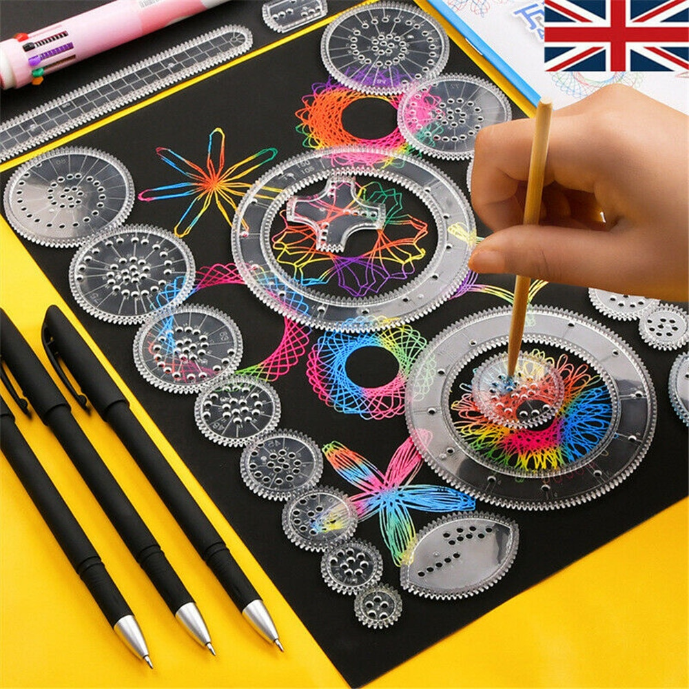 28x Tin Creative Gift Spirograph Geometric Ruler Stationery For Students Drawing Toys Set Learning Art Sets For Children
