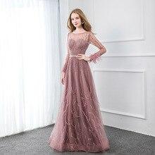 Dusty Pink Volledige Mouw Veren Avondjurken Lange Tulle Kristallen Kralen Aline Formele Vrouwen Avondjurk Dubai Jurk