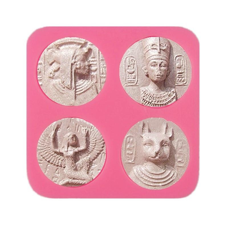 Molde De silicona diseño DIY faraón egipcio moneda antigua arcilla De modelado resina epoxi yeso aromático moldes De hormigón Forma De silicona