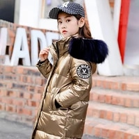 new boys and girls rain proof warm long coat water proof winter clothes hooded fur collar jacket cotton baby girl down coat