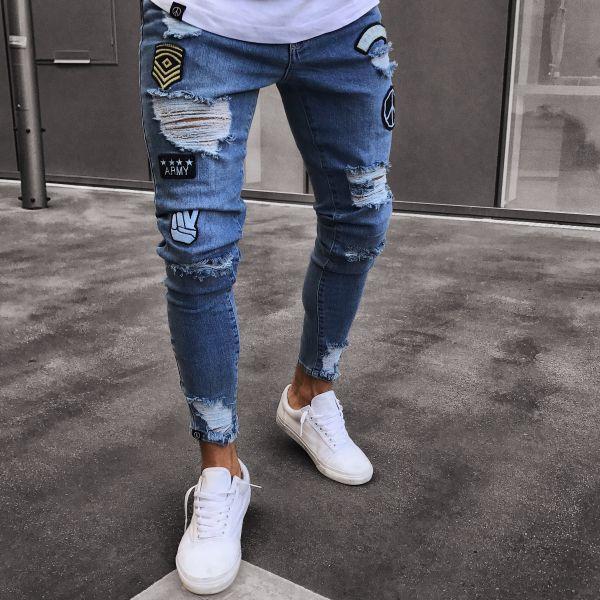 Skinny Ripped Jeans Men Pants Pencil Biker Side Striped Jeans Destroyed Hole Hip Hop Slim Fit Men Stretchy Jean distressed ripped slim fit jeans mens washed destroyed skinny denim pants fashionable streetwear blue hole biker jean for men