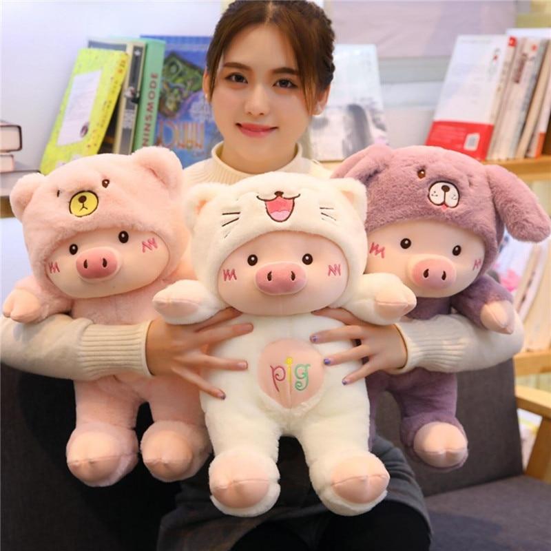 Kawaii cerdo Stuff muñeca de peluche Cosplay gato y oso y perro juguete bebé suave Animal cerdo almohada niños niña cumpleaños regalo de Navidad