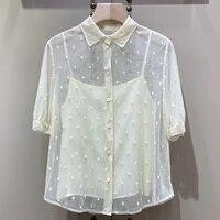 top women blouses casual beach long sleeve loose shirt summer blusa black ink print blouse v neck women