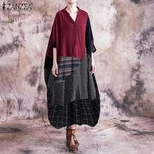 Elegante feminino verificar maxi vestido de verão zanzea 2020 costura camisa vestido de manga longa vesitods feminino folgado túnica robe oversized