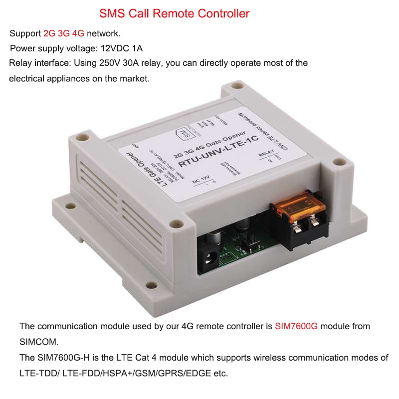 SMS GSM Call Controller 4 Channel Relay Module 433M Remote Controller SIM7600G-H  LTE Gate Opener Support 2G 3G 4G enlarge