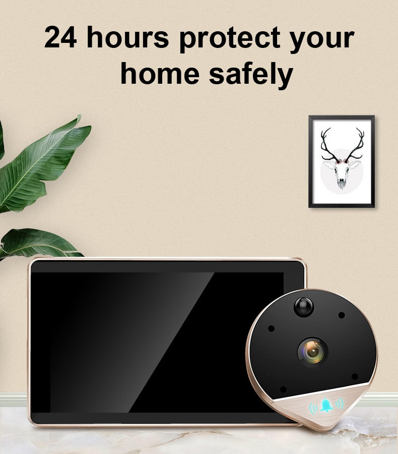 Wifi Smart 1080P HD Peephole Viewer Video Doorbell 170° Wide Viewing Angle Camera For Home Security Motion Detection Cat Eye enlarge