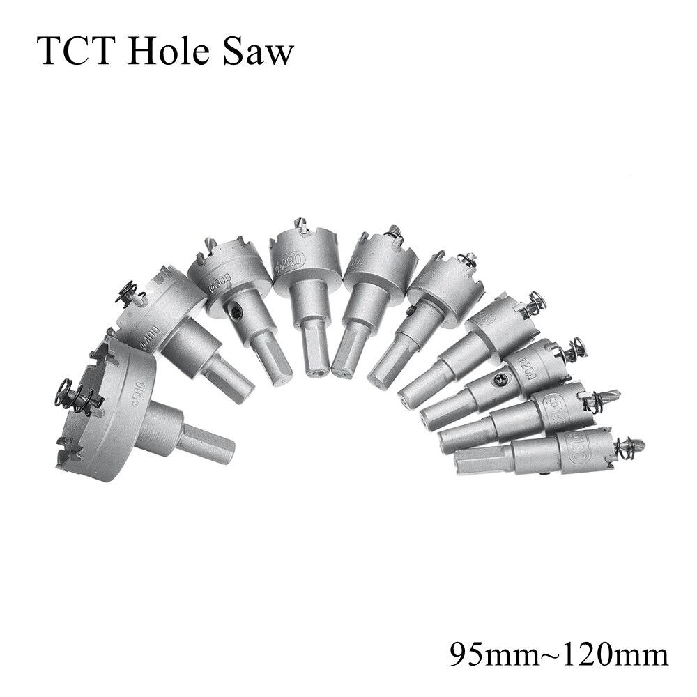 95mm 100mm 105mm 110mm 115mm 120mm TCT Hole Saw Blade HSS Metal Drill Bit Carbide Tip Cutter Metalworking Stainless Steel Iron
