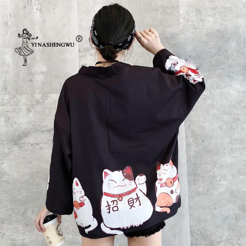 Kimono de impresión de gato de la suerte japonesa cárdigan mujer camisa suelta tapas playa Casual abrigo Yukata kimonos de mujer Cosplay Asian clothes