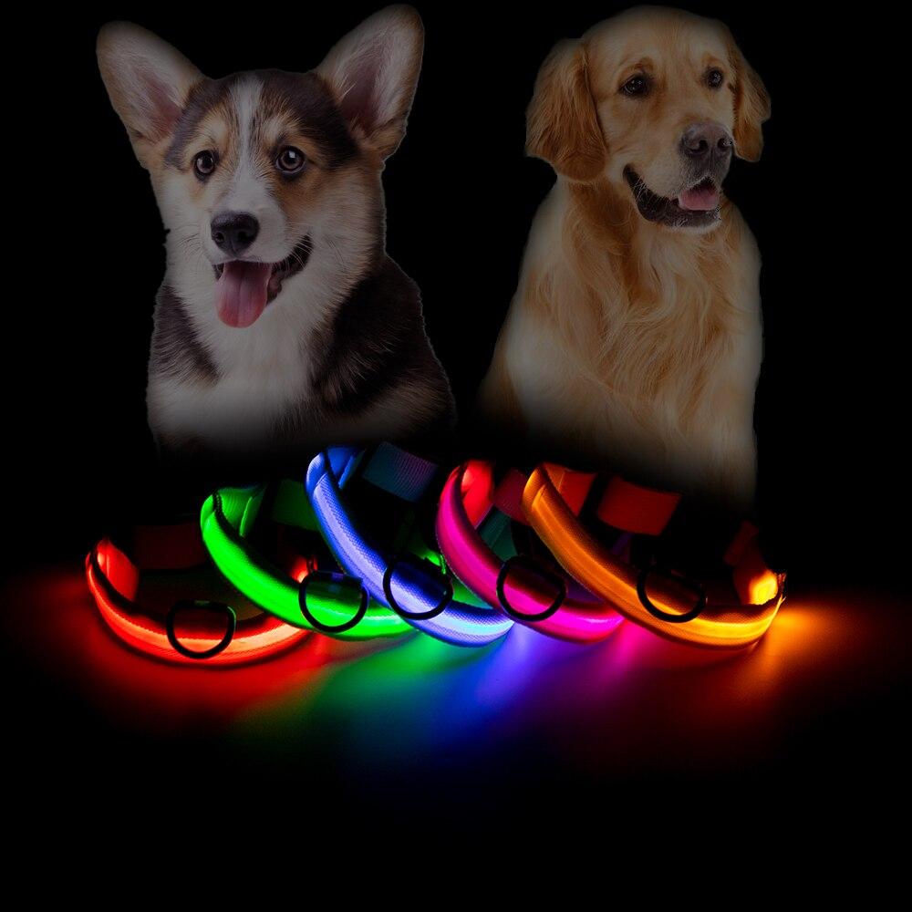 Светящиеся ошейники для домашних питомцев, нейлоновый светодиодный ошейник для собак, защита от потери, 7 цветов, размеры S, M, L, XL