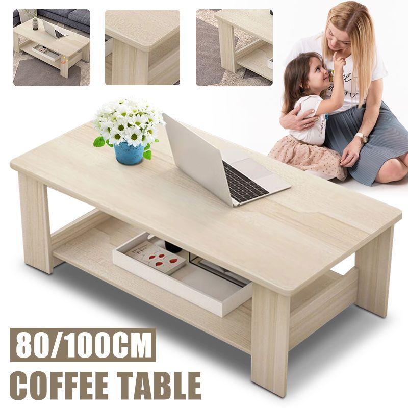 80/100cm Modern Wooden Coffee Table Rectangle Living Room Furniture Display Storage Shelf Tea Wood Coffee Table