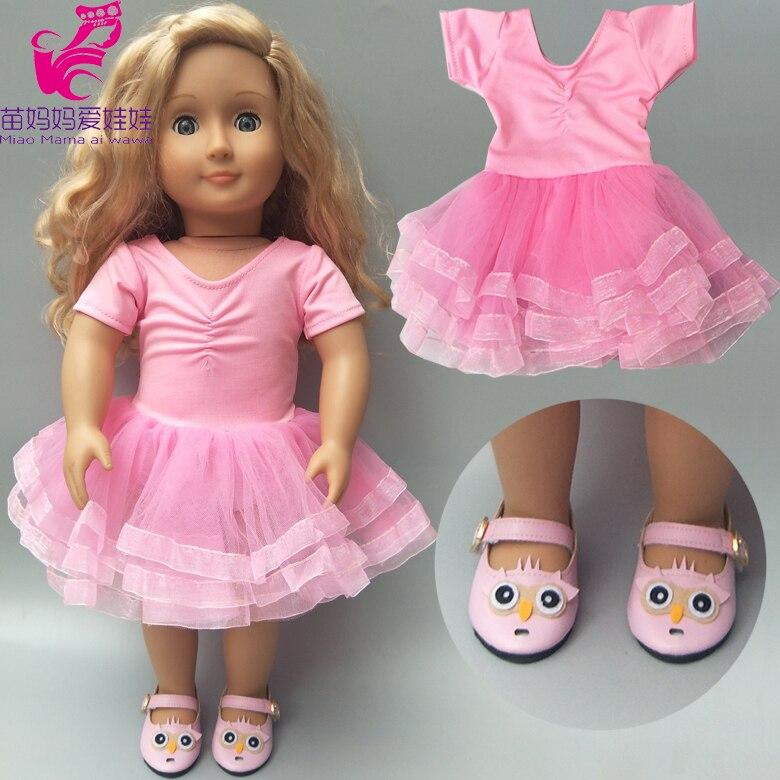 Vestido de ballet de muñeca apto para ropa de bebé recién nacido de 43cm y ropa de muñecas americanas