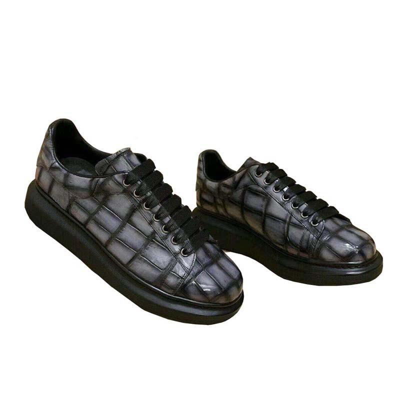 050xin-أحذية جلدية التمساح للرجال ، نعال مطاطية ، أحذية غير رسمية للعمل والسفر