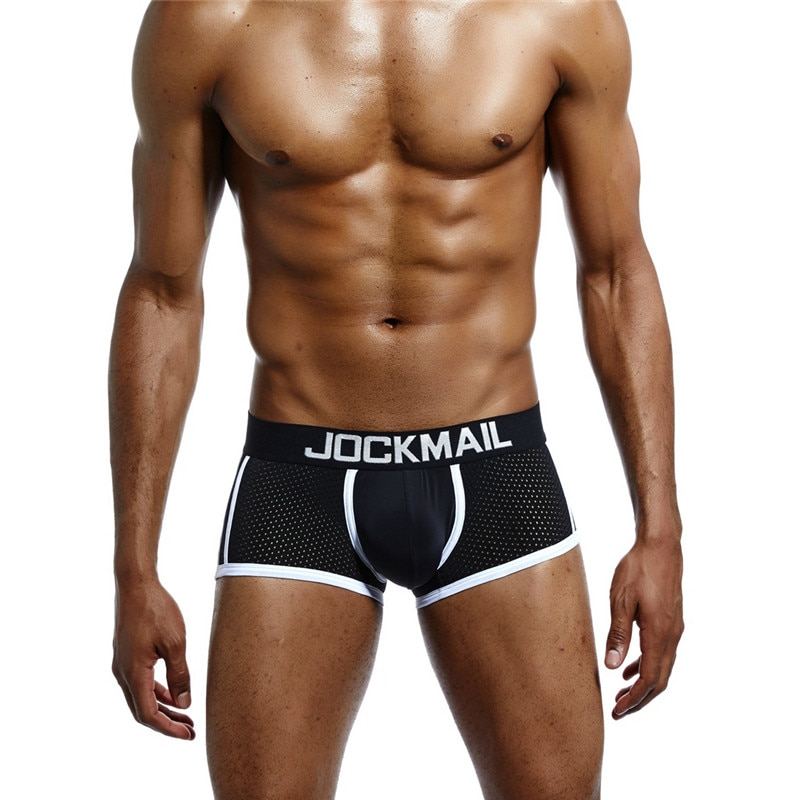 JOCKMAIL Men Boxer Briefs Low Waist Breathable Mesh Camouflage  Stripe Shorts Men Breathable Gay Sex