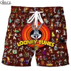Cloocl dos desenhos animados bugs coelho verão praia shorts 3d impressão moda looney tunes coleção masculino esporte harajuku lazer calças de fitness