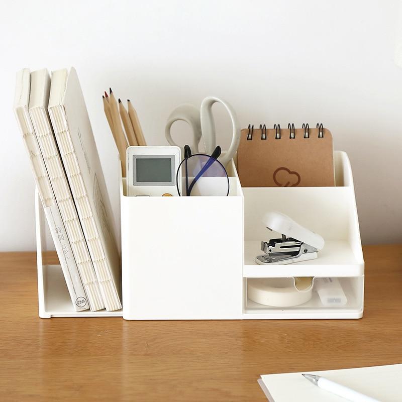 Creative ABS Desk Office Organizer Storage Pen Holder Desktop Pencil Sundries Stationery Badge Box Office School Supplies