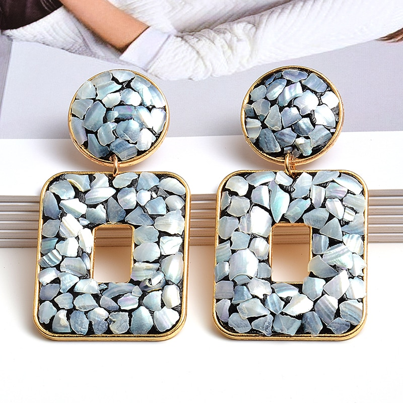Brincos geométricos de metal, joias de alta qualidade feitos à mão, acessórios de joia para mulheres