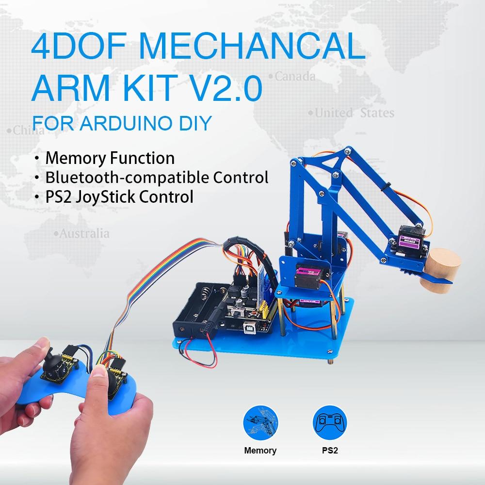 Keyestudio 4DF الميكانيكية PS2 عصا التحكم المعدنية روبوت الذراع التعلم كاتب عدة V2.0 لاردوينو لتقوم بها بنفسك عدة