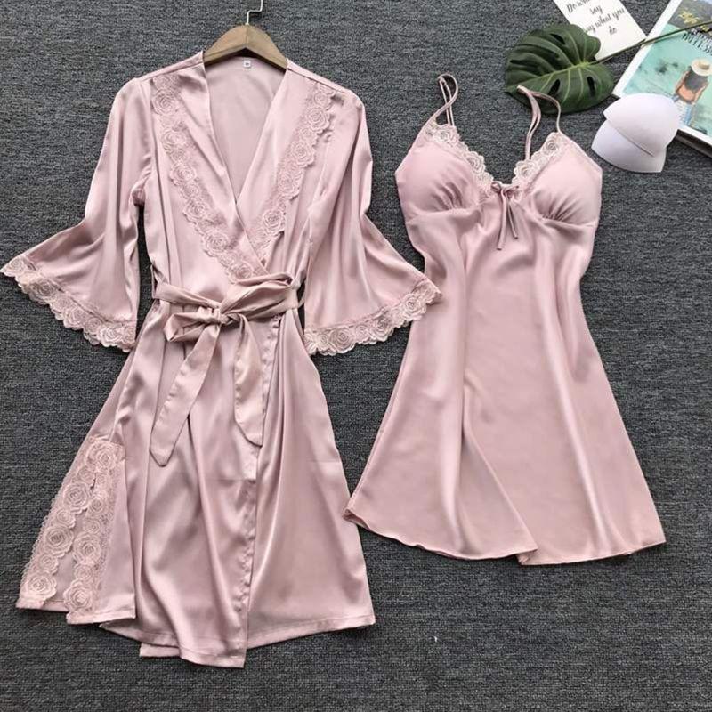 Womens Imitatie Zijde Sexy Kimono Robe Nachthemd 2 Stuks Nachtkleding Set Effen Kleur Bloemen Kant Patchwork Pyjama Hemdje Nachtjapon