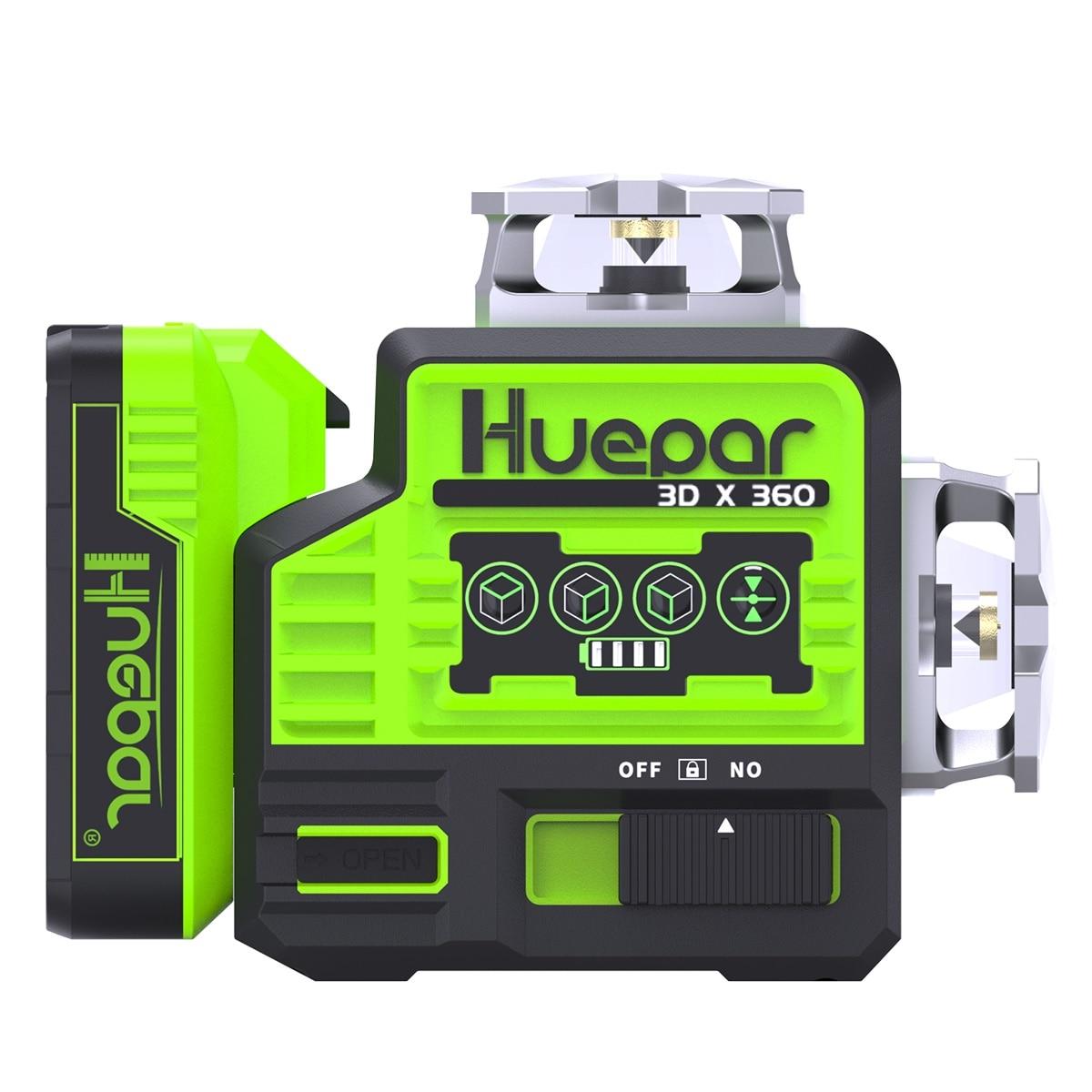 Huepar P03CG ثلاثية الأبعاد 12 خط شعاع أخضر أوسرام مستوى الليزر مع بطارية ديلوت