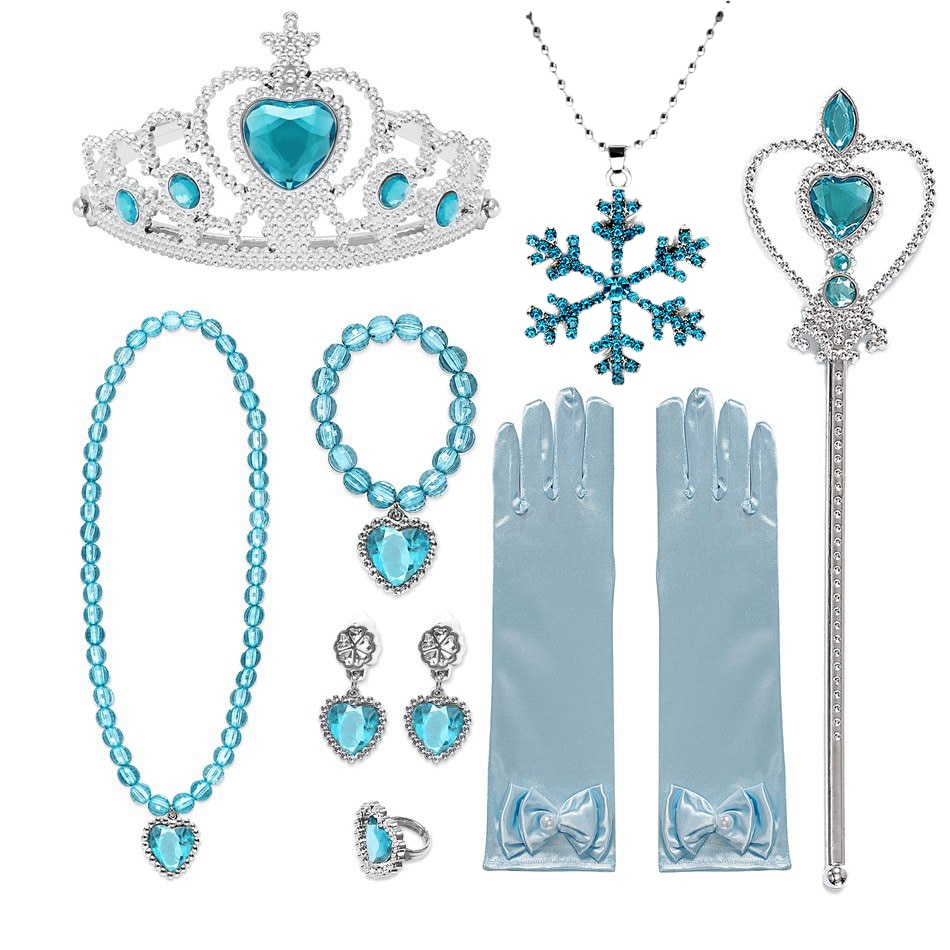 Girls Elsa Accessories Gloves Wand Crown Jewelry Set Elsa Wig Braid for Princess Dress Clothing Cosplay Snow Queen 2 Accessories