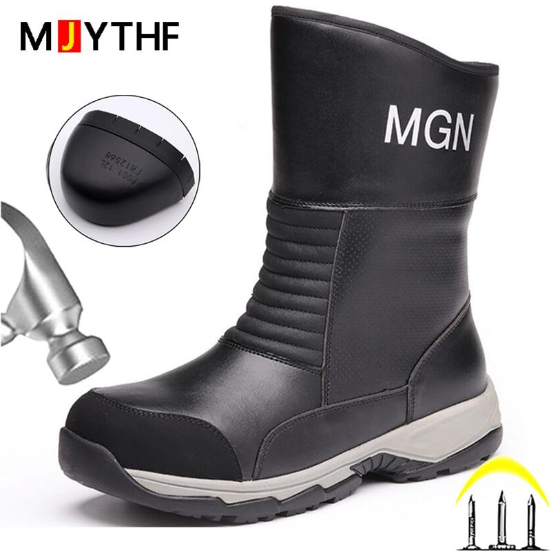 2021 جديد حذاء برقبة للعمل المياه برهان أحذية السلامة أحذية الشتاء ثقب واقية أحذية أمان الصلب تو أحذية غير قابل للتدمير أحذية الرجال