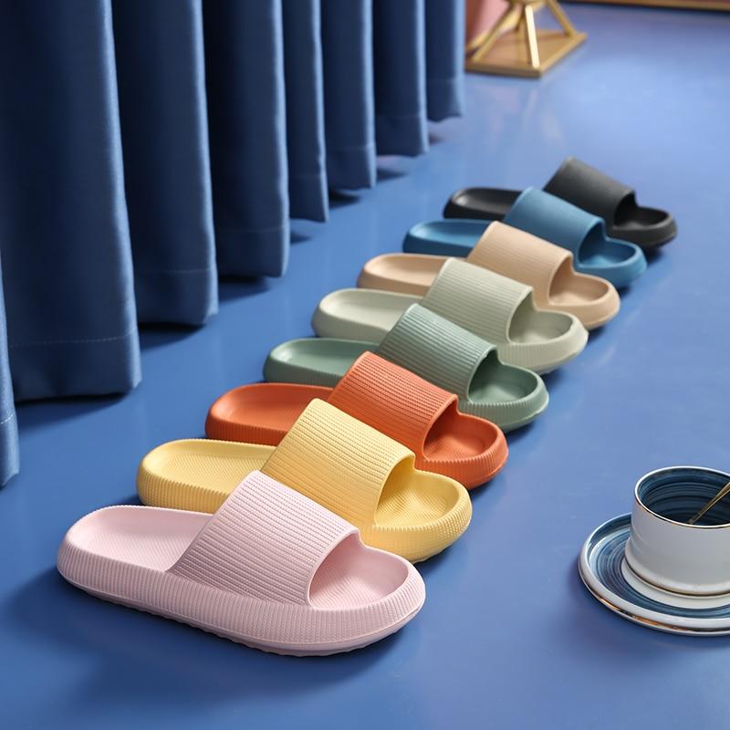 Thick Platform Horsehold Slippers Women Indoor Bathroom Slides Soft EVA Anti-Slip Home Floor Slides Ladies Summer Shoes