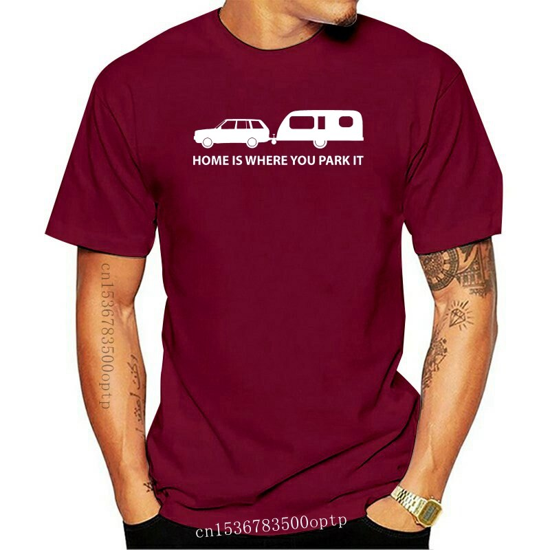 New Men T Shirt Fashion Home Is Where You Park It Mens Funny Caravan T-Shirt Camps Holiday Caravaning Tee shirt