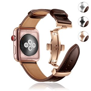 Oil Wax Leather Butterfly Buckle Strap for Apple Watch Band 38/42MM 40/44MM Replacement Bracelet for iWatch Series SE/6/5/4/3/2