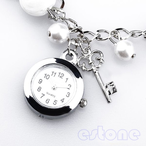 2021 New  Women Girl Lady's Popular Fashion Quartz Charms Faux Pearl Bracelet Wrist Watch