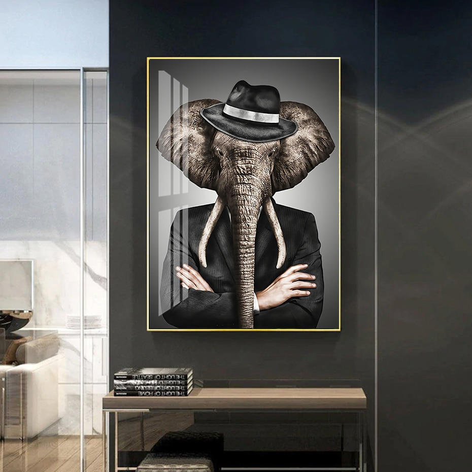 Абстрактный животный слон лев тигр плакат настенная живопись холст печать картинки для гостиной украшение интерьера дома