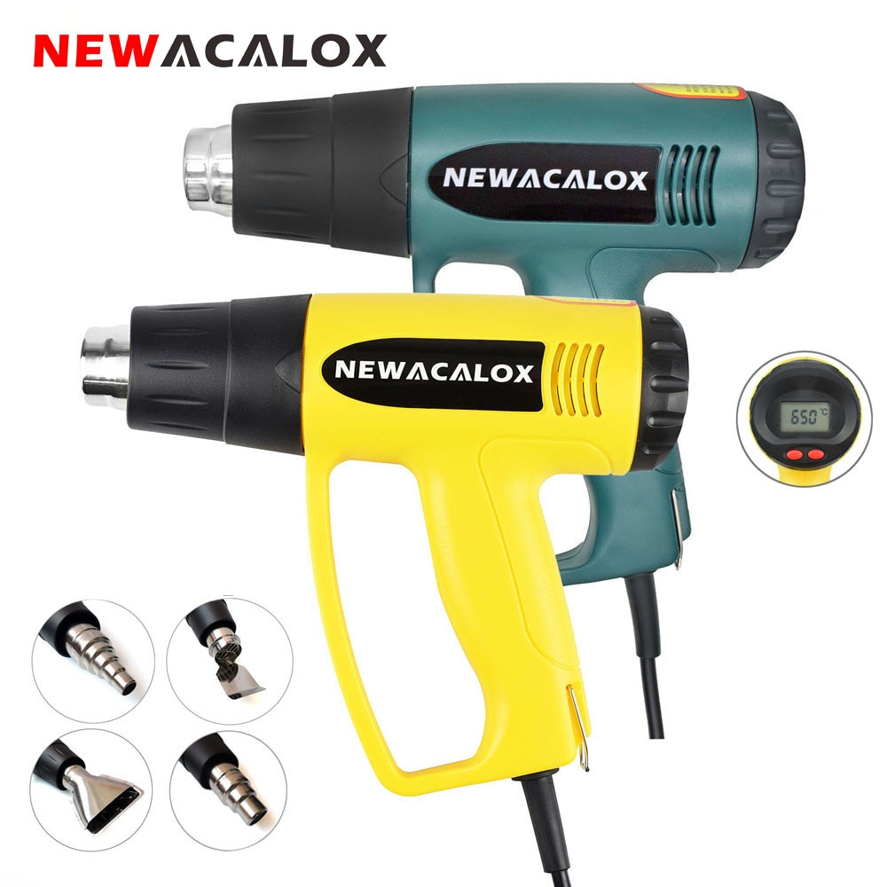 NEWACALOX 2000W 220V EU Plug Industrial Electric Hot Air Gun Thermoregulator LCD Heat Guns Shrink Wr