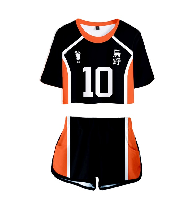 Popular Dew navel Sport bokuto akaashi Suit Women Two Pieces sets Volleyball Haikyuu Jersey Figure T-shirts+shorts Pants Clothes 2