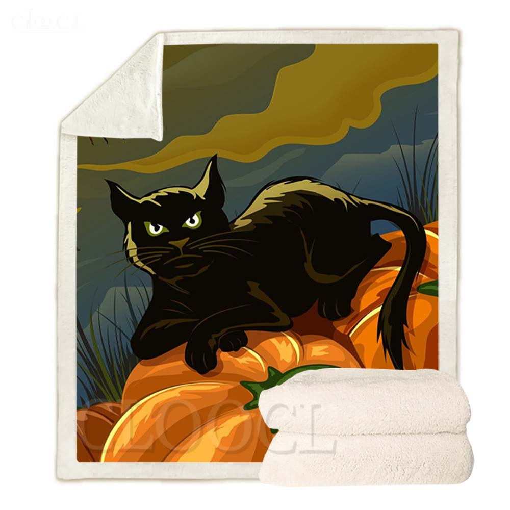 CLOOCL هالوين موضوع البطانيات الكرتون اليقطين الأسود القط طباعة أفخم لحاف هدايا للفتيات الفتيان الدفء البطانيات غير رسمية