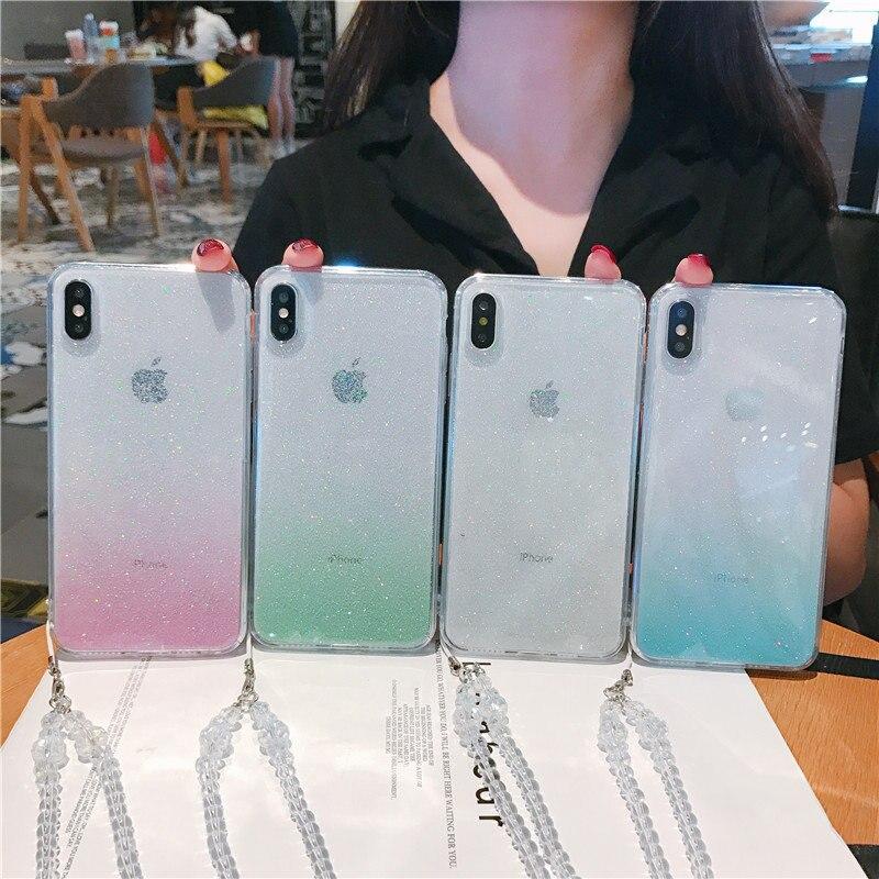 Carcasa de teléfono degradado con brillo carcasa blanda para iPHONE 6 6S 7 8X11 11PRO MAX funda ultrafina transparente