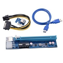 PCI-E 1X to 16X Extension Cable 4PIN+6Pin 2 in 1 Power Supply Adapter Card for BTC Miner for Desktop