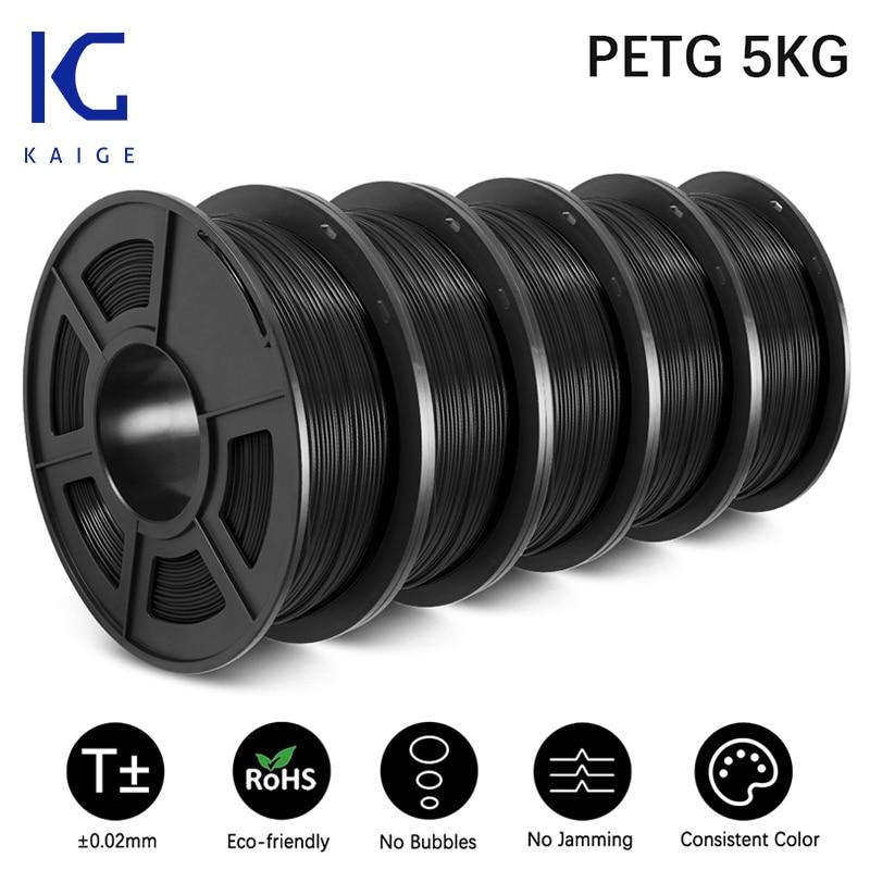 KAIGE PETG 1.75mm 5KG 3D Printing Filament Sublimation Blanks Good Toughness PETG Filament PLA Consumables No Bubble Material