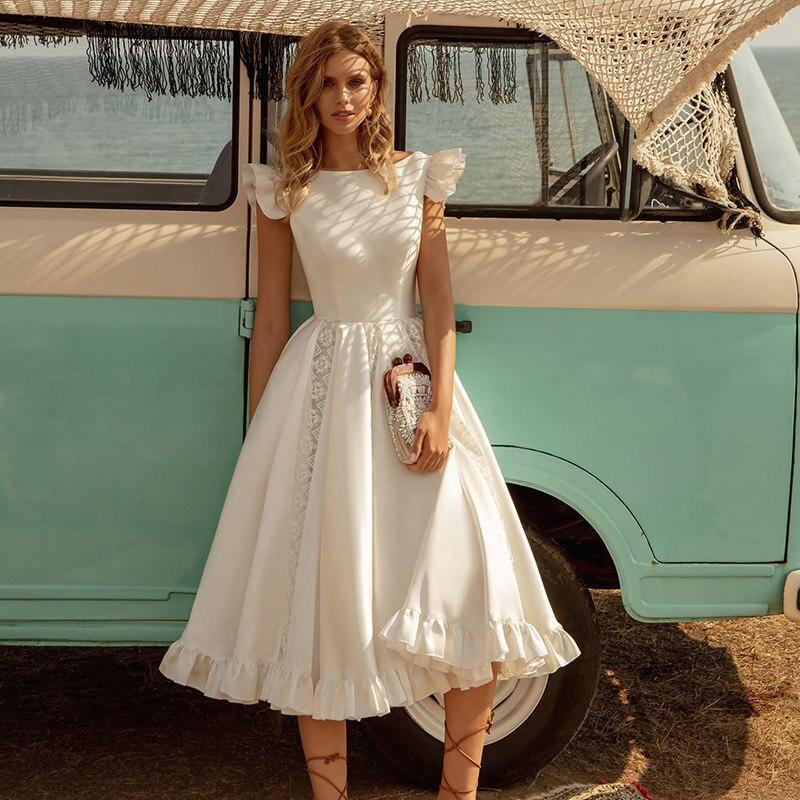 تصميم جديد بوهو كم قصير ألف خط الساتان طول الشاي فساتين زفاف الأميرة الهبي شاطئ الزفاف Dres