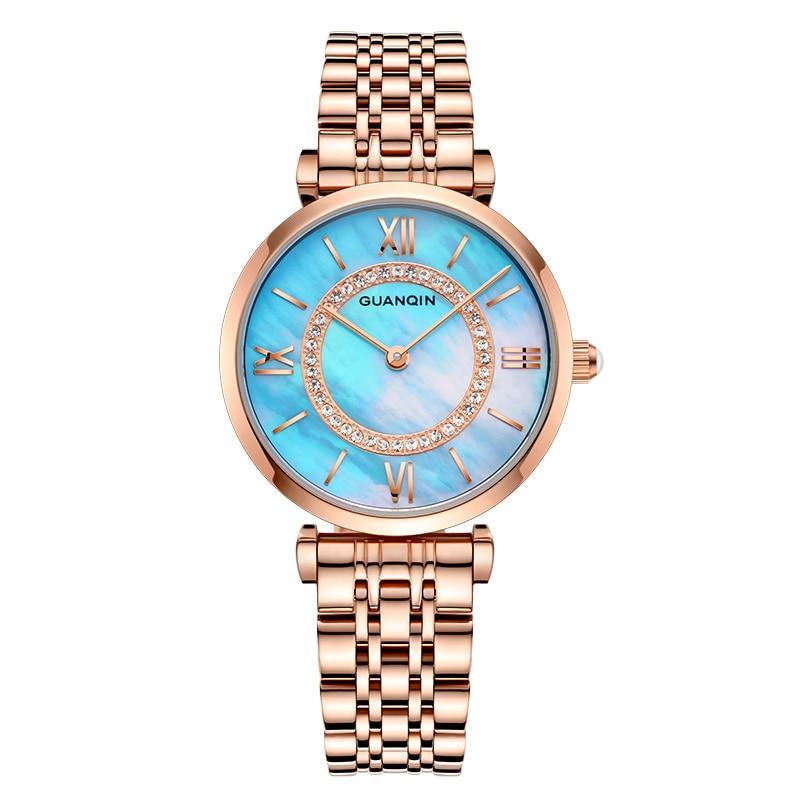 Marca de Luxo Relógios de Ouro Pulseira de Aço Relógio de Quartzo Relógio de Pulso Guanqin Reloj Mujer Mulheres Completo Moda Feminina Relógio Feminino